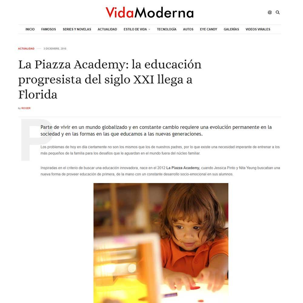 VidaModerna - La Piazza Academy la educación progresista del siglo XXI llega a Florida