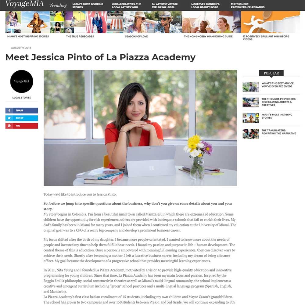 VoyageMIA - Meet Jessica Pinto of La Piazza Academy